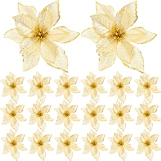 SATINIOR 20 Packs Christmas Artificial Flowers Glitter Poinsettia Christmas Tree Ornament DIY Holiday Floral Arrangements (Gold)