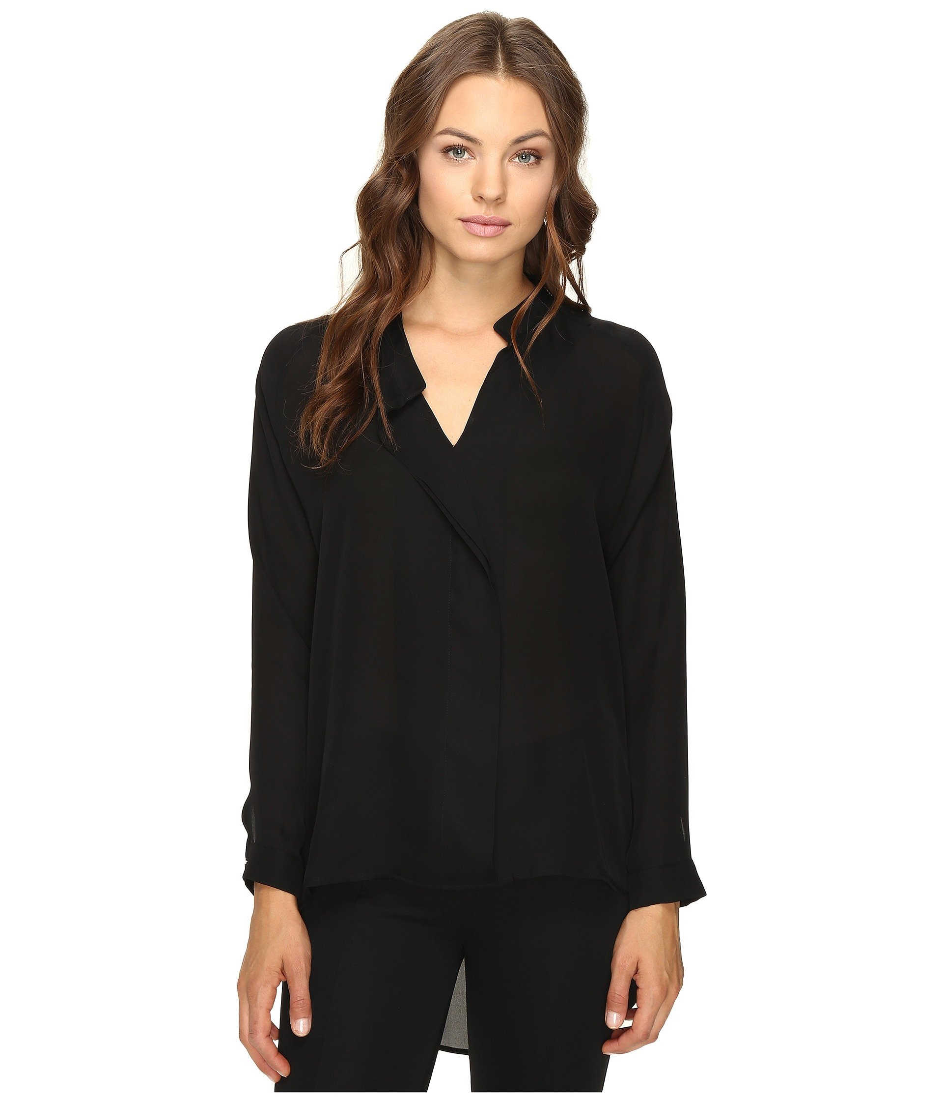 HEATHER Long Sleeve Silk Collared Blouse, Black