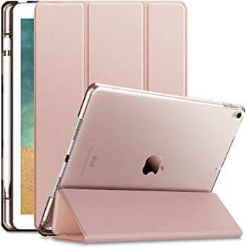 INFILAND Case for iPad Air 3rd Generation 2019 / iPad Pro 10.5 2017, Translucent Frosted Back Smart Cover Case with Apple Pencil Holder,Rose Gold