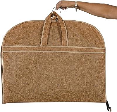 Kuber Industries Embossed Design 3 Pieces Foldable Non Woven Men's Coat Blazer Cover (Golden) -CTKTC042163