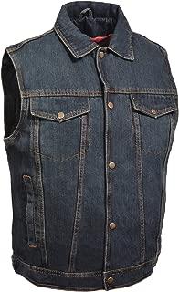 Milwaukee Performance Men's Shirt Collar Denim Vest (Blue, Medium)
