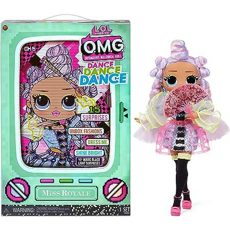 L.O.L. Surprise! OMG Dance Dance Dance Bambola Miss Royale, con 15 sorprese, abiti firmati, black light magica, accessori di moda, scarpe, supporto per bambola e confezione TV, Adatto dai 4 anni in su