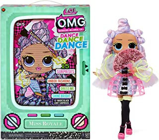 LOL Surprise OMG Dance Dance Dance Miss Royale Fashion Doll with 15 Surprises Including Magic Black Light, Shoes, Hair Bru...