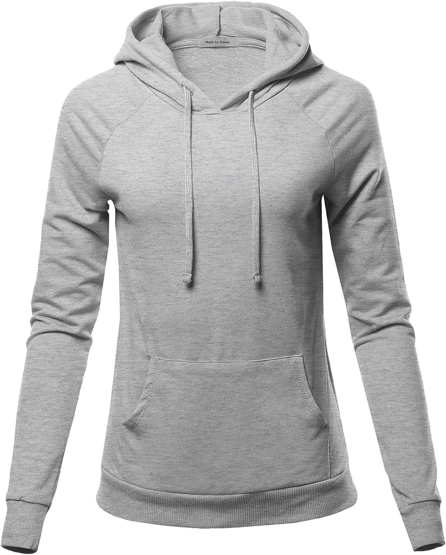 Women's Raglan Sleeve Pullover French Terry Hoodie TOP W/Kangaroo Pocket