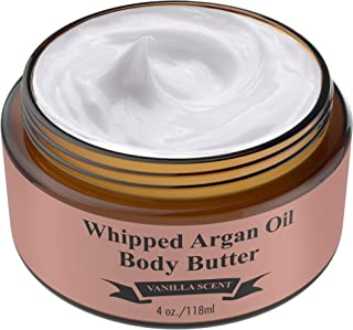 Whipped Argan Oil Body Butter Cream - Make Your Skin Soft & Silky Smooth - Made With Argan Oil Which Has Restorative And Antioxidant Properties - No Parabens - (Vanilla)