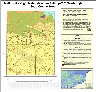 Historic Pictoric Map : Surficial geologic Materials of The Eldridge 7.5' Quadrangle, Scott County, Iowa, 2005 Cartography Wall Art : 24in x 24in