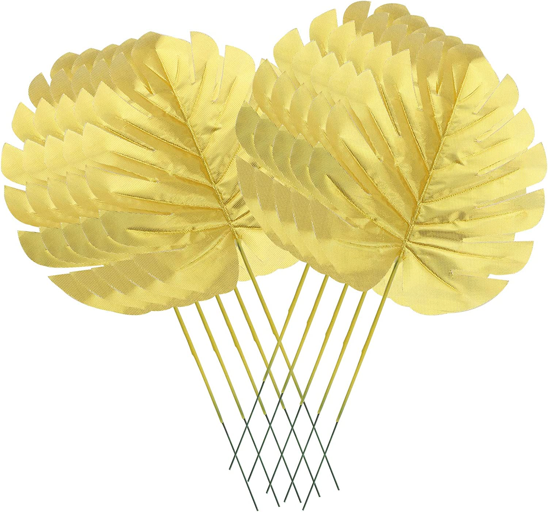 HJ Garden 10PCS Gold Decoration Imitation Turtle Back Leaf Artificial Plants Palm Leaves Tropical Party Leaves