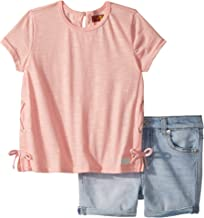 7 For All Mankind Kids Womens Peach Tee and Shorts Set (Toddler)