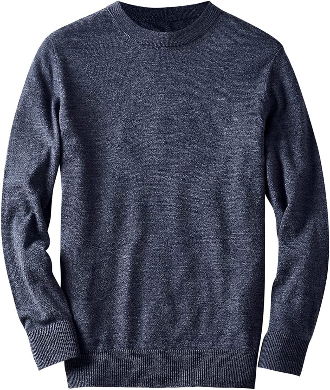 Men's Merino Wool Lightweight Crew Neck Sweater Premium Essentials Solid Crewneck 12 Gauge Pullover