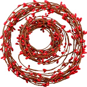 40 Feet Double Pip Garland Berry Garland Floral Craft Country Pip Berry Garland Floral Craft Decor, Artificial Red Berry Christmas Garland, 2 Roll