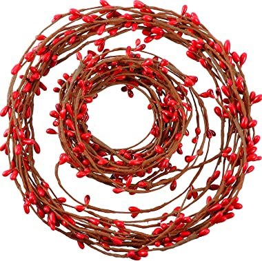 40 Feet Double Pip Garland Berry Garland Floral Craft Country Pip Berry Garland Floral Craft Decor, Artificial Red Berry Chri