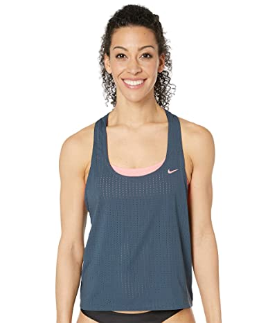 Nike Sport Mesh Layered Tankini (Monsoon Blue) Women