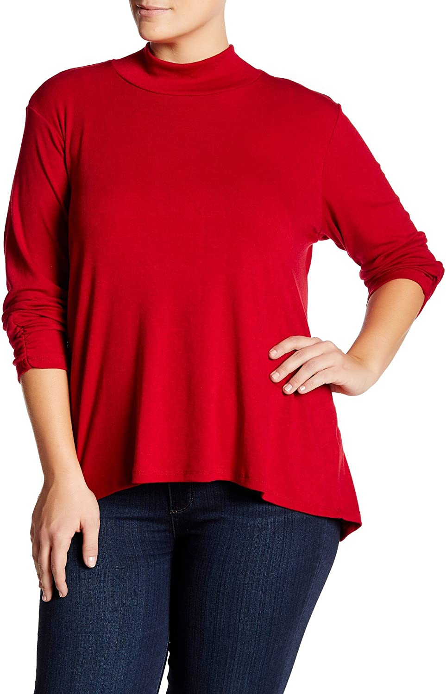 Bobeau Plus Size Mock Neck Tunic Blouse, Red (1X)