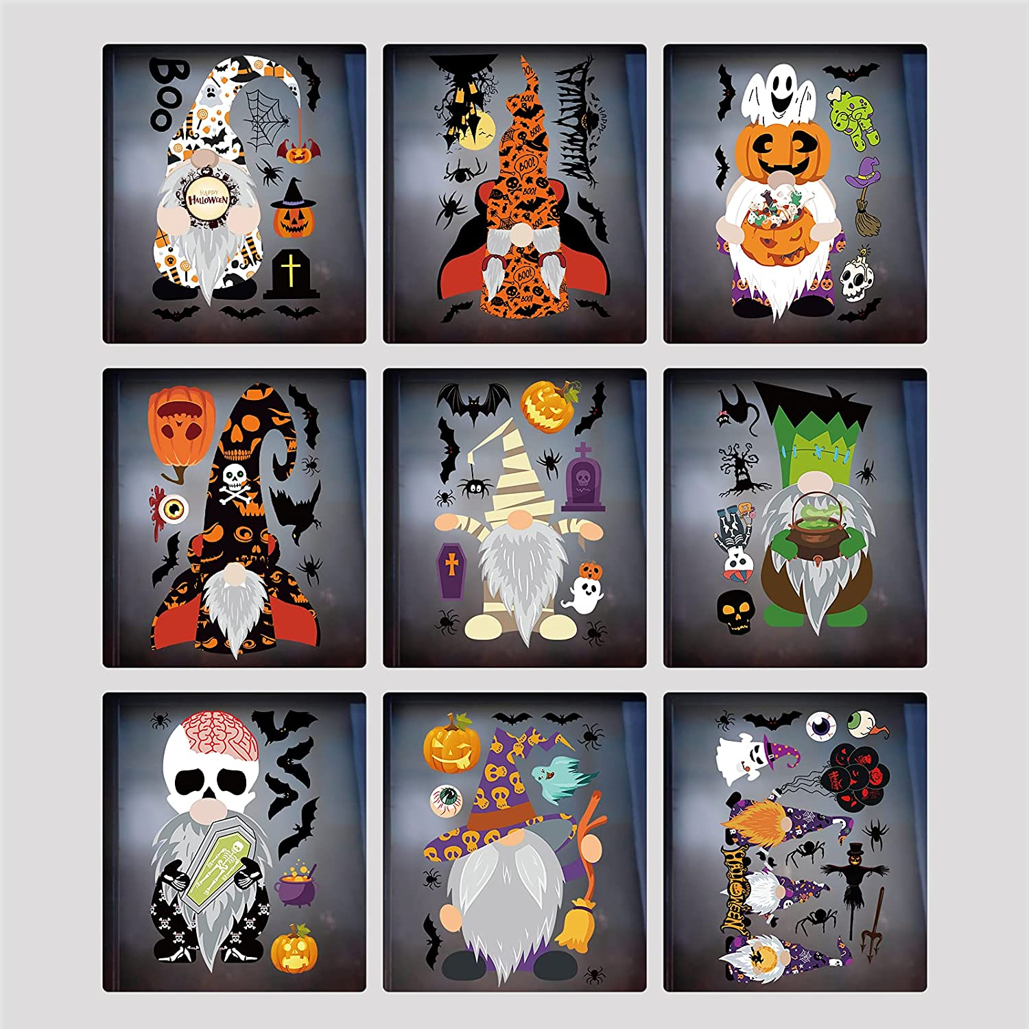 AIKEI Halloween Window Clings Decoration Super popular specialty store Gnome Sheets Bat Price reduction Elf 9