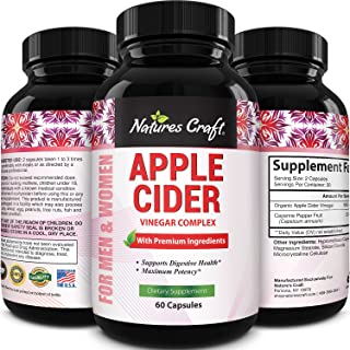 Apple Cider Vinegar Pills - For Weight Loss 1000 MG ACV Extra Strength Fat Burner Natural Supplement Pure Detox Cleanse Digestion Support - Appetite Suppressant Immune Booster - for Women and Men