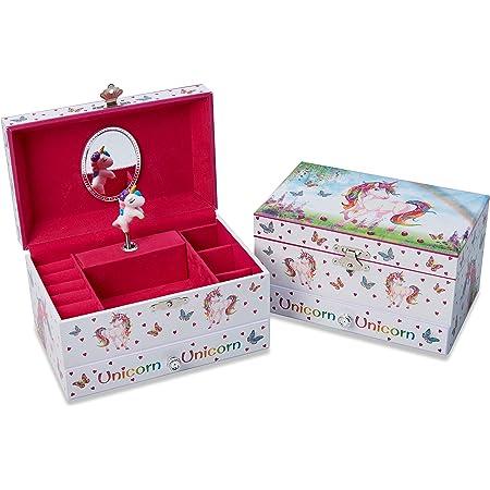 Lucy Locket Portagioie 'Unicorno Magico' (portagioie, carillon musicale, scatola regalo per bambini) - Rosa glitterato Portagioie per bambini con porta anelli