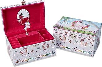 Lucy Locket Portagioie unicorno magico (portagioie, carillon musicale, scatola regalo per bambini) - Rosa glitterato Portagioie per bambini con porta anelli