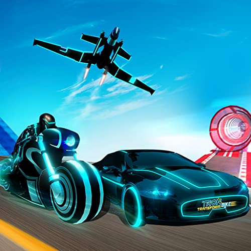 Tron Bike Transform Car Driving Simulator | Sci-fi bike adventure | Mega ramp stunts | extreme bike stunts | real car driving  simulator | Car Games | Bike games
