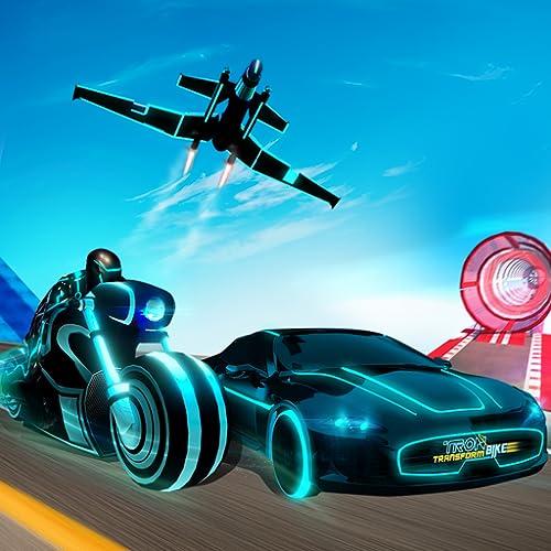 Tron Bike Transform Car Driving Simulator | Sci-fi bike adventure | Mega ramp stunts | extreme bike stunts | real car driving simulator | Car Games | Bike games