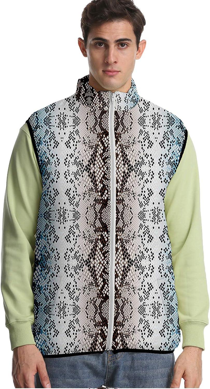 URVIP Unisex 3D Printed Animal Fur Texture Down Puffer Vest Sleeveless Jacket