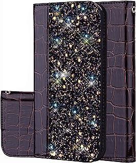 JAWSEU Bling Glitter fodral kompatibelt med Samsung Galaxy A5 2018/A8 2018, PU-läder plånbok flip stativ fodral glitter bl...