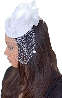 Z&Co Fascinator Hat for Women Tea Party Kentucky Derby Wedding Veil Hairclip Headband