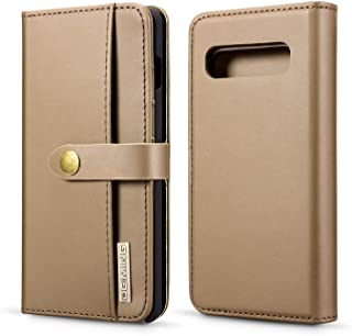Samsung Galaxy S10 Wallet Case, Lambskin Detachable Folio Style Stand Feature Credit Card Slots Photo Frame Horizontal Flip Case Magnetic Closure for Galaxy S10 6.1 Inch (Brown)