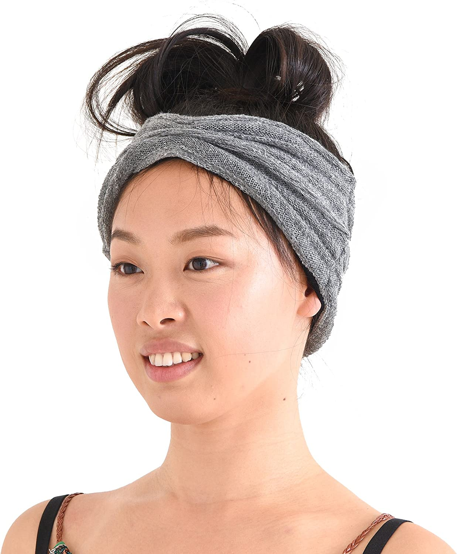 CHARM Organic Cotton Turban Headband - Mens Knit Ear Warmer Womens Chemo Hair Wrap