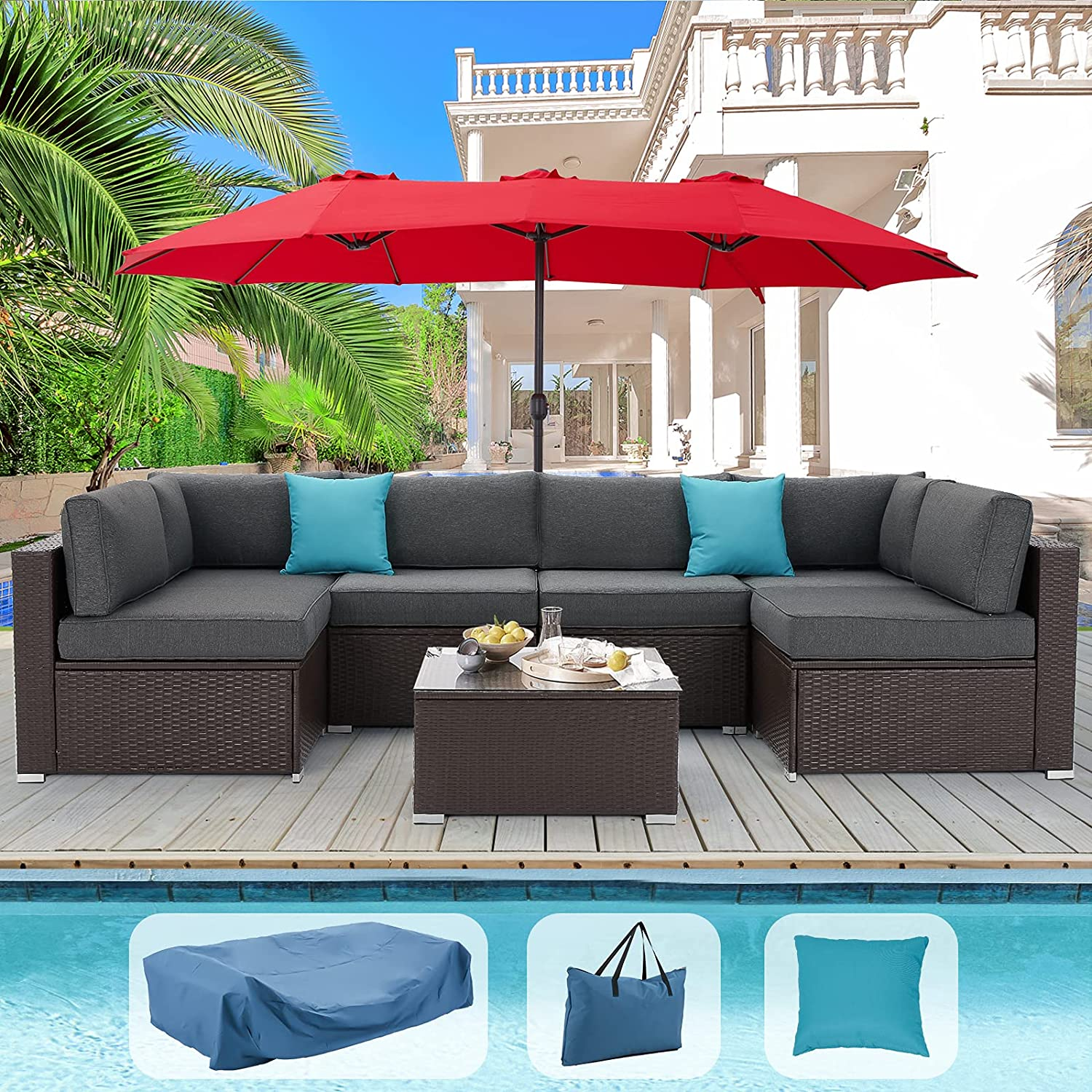 AECOJOY Large Patio Furniture New products, world's highest quality popular! 7 Piece Set PE Weather Milwaukee Mall All Rattan