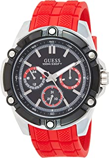 GUESS Mens Quartz Watch, Analog Display and Silicone Strap W1302G1