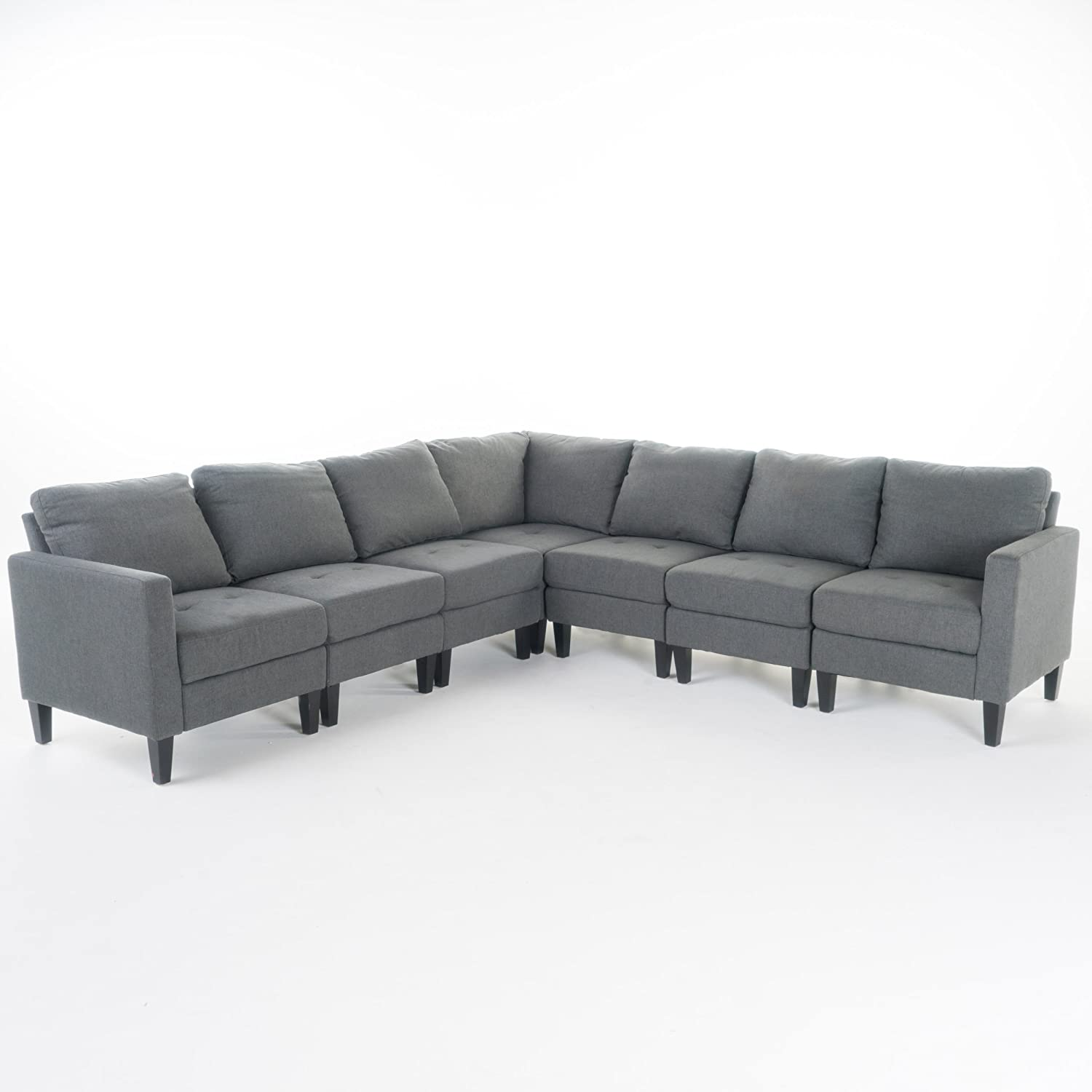 Carolina Versatile Daily bargain sale 7 Piece Fabric Dark Max 51% OFF Sectional Grey Couch