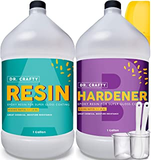 Clear Epoxy Resin Crystal Clear - Art Resin Epoxy Clear 2 Part Epoxy Resin 2 Gallon Kit Casting Resin Countertop Epoxy Wood Epoxy Resin Kit with Bonus Measuring Cups, Plastic Spreader, Plastic Sticks