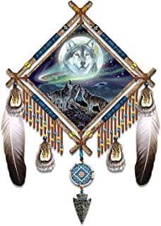 The Bradford Exchange Al Agnew Northern Lights and Wolf Art Glow in The Dark Dreamcatcher with Leather