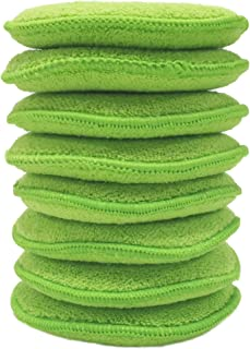 Polyte Microfiber Detailing Wax Applicator Pad, 8 Pack (Green, 5 in)