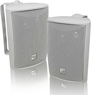 Dual Electronics LU43PW 3-Way High Performance Outdoor Indoor Speakers with Powerful Bass | Effortless Mounting Swivel Bra...