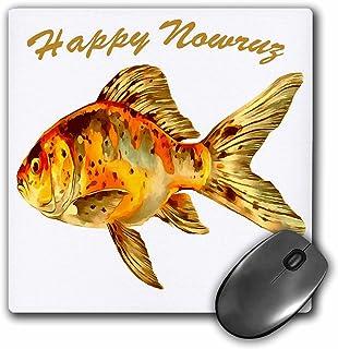 3dRose 鼠标垫优雅 Happy Nowruz Goldfish Persian 新年 - 20.32 x 20.32 厘米 (mp_275642_1)