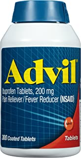 Advil Coated Tablets Pain Reliever and Fever Reducer, Ibuprofen 200mg, 300 Count, Fast-Acting Formula for Headache Relief,...