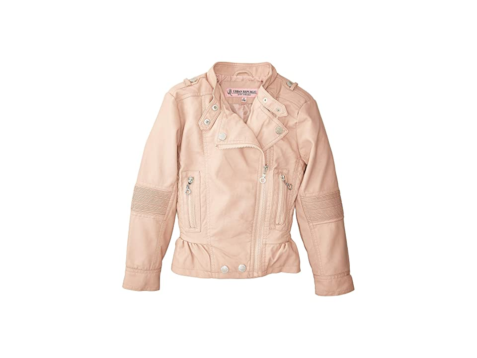 Urban Republic Kids Alice Faux Leather Moto Jacket w/ Ribbed Elbow and Peplum (Little Kids/Big Kids) (Rose Smoke) Girl