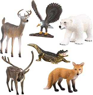 Terra by Battat – North American Animals Set – Realistic Animal Toys with Polar Bear Toy for Kids 3+ (6 pc)
