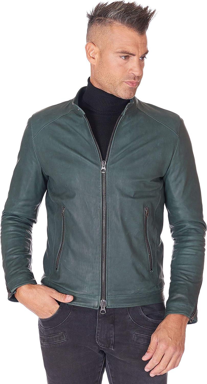 Green natural lamb leather biker jacket korean collar