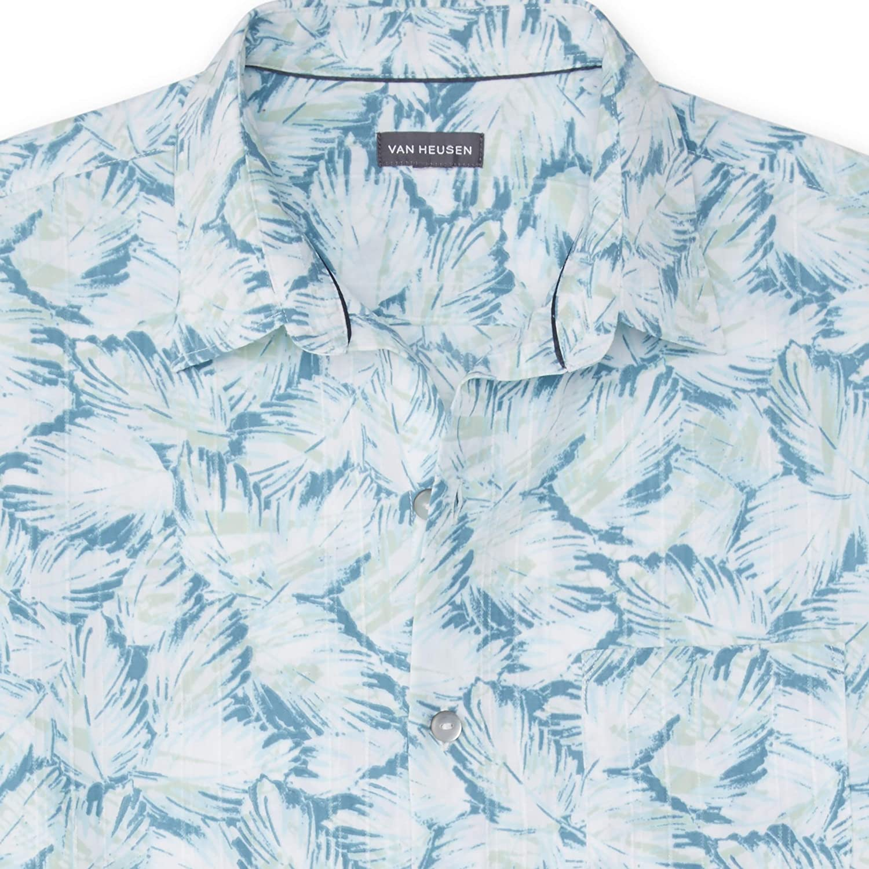 Van Heusen Mens Big and Tall Air Tropical Short Sleeve Button Down Poly Rayon Shirt