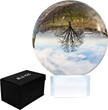 Crystal Ball 80mm - Photography Ball with Crystal Stand and Box - Clear Glass Sphere for Meditation and Healing - Lens Ball for Decorations - Glass Ball - K9 Crystal Ornaments for Home, Party & Shows