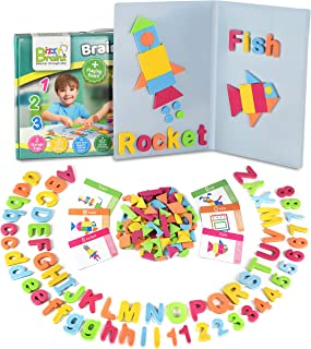 Magnetic Letters and Patterns Set |Educational Toy with 400 Foam Pieces + 38 Idea Cards | Imagination Learning Game for Kids, Learn ABC, Spelling, Counting, Puzzles, Fine Motor Skills