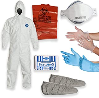 DuPont Multipurpose Cleanup Kit: 2X-Large Tyvek TY127 Coverall Suit, Shoe Covers, 3M 9210 N95 Respirator Mask, Polyethylene Apron, 2 Pair of Protective Gloves, Biohazard Disposal Bag