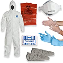 DuPont Multipurpose Cleanup Kit: Size Medium Tyvek TY127 Coverall Suit, Shoe Covers, 3M 9210 N95 Respirator Mask, Polyethylene Apron, 2 Pair of Protective Gloves, Biohazard Disposal Bag