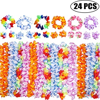 Hawaiian Leis Garlands Luau Party Favors Artificial Flowers Fake Elastic Flowers With 12 Bracelets 6 Headbands 6 Necklaces...