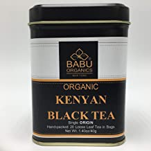 Organic KENYAN BLACK TEA by Babu Organics - BLACK LOOSE TEA in Special 20 HAND-CRAFTED Tea Bags (20 Cups), Hand-Picked and Hand-Packed from a Single Estate in Kenya, Refreshing tea either Hot or Cold