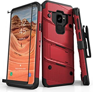 ZIZO Bolt Series Samsung Galaxy S9 Case Military Grade Drop Tested with Tempered Glass Screen Protector Holster RED Black