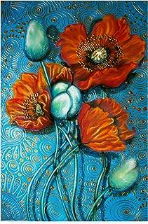 Trademark Fine Art Orange Poppies On Blue by Cherie Roe Dirksen, 22x32-Inch Fine Art Multicolor