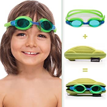 Kids Goggles for Swimming with Fun Car Hard Case for Kids & Toddlers Age 2-8